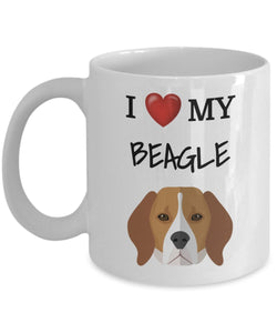 I Love My Beagle - Funny 11oz 15oz mug for pet lover, dog mom, dog parent, pet parent - Great gift idea for BFF, Friend, coworker/Boss, Secret Santa/birthday, Wife/girlfriend (White)