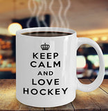 Keep Calm and Love Hockey - Funny - 11oz 15oz Coffee Mug - Gift