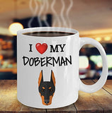 I Love My Doberman - Funny 11oz 15oz coffee mug for pet lover, dog mom, dog parent, pet parent- Great gift idea for BFF, Friend, coworker/Boss, Secret Santa/birthday, Wife/girlfriend