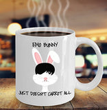 Easter Funny Coffee Mug - Emo Bunny Just Doesn't Carrot All - Best Gift For Friend,Coworker,Boss,Secret Santa,Birthday,Husband,Wife,Girlfriend,Boyfriend (White)
