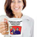 Nurse Funny Coffee Mug - You Know You're A Nurse When You Believe In The Aerial Spraying Of Prozac - Best gift for Friend,coworker,Boss,Secret Santa,birthday, Husband,Wife,girlfriend (White)