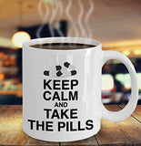 Pharmacist Funny Coffee Mug - Best Gift For Friend,Coworker,Boss,Secret Santa,Birthday,Husband,Wife,Girlfriend,Boyfriend (White) - Keep Calm And Take The Pills