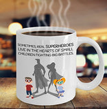 Autism Inspirational Coffee Mug - Sometimes Real Superheroes Live In The Hearts Of Small Children Fighting Big Battles - gift for Friend,Boss,Secret Santa,birthday, Husband,Wife,Boyfriend