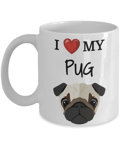 I Love My Pug - Funny 11oz 15oz coffee mug for pet lover, dog mom, dog parent, pet parent- Great gift idea for BFF, Friend, coworker/Boss, Secret Santa/birthday, Wife/girlfriend
