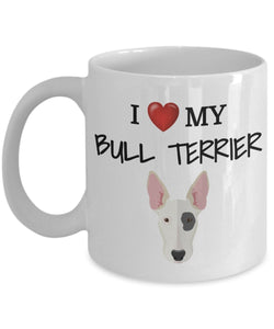 I Love My Bull Terrier - Funny 11oz 15oz coffee mug for pet lover, dog mom, dog parent, pet parent- Great gift idea for BFF, Friend, coworker/Boss, Secret Santa/birthday, Wife/girlfriend