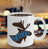 Moose Funny Coffee Mug - Best Gift For Friend,Coworker,Boss,Secret Santa,Birthday,Husband,Wife,Girlfriend,Boyfriend (White) - Outsider