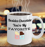 Besides Chocolate, You're My Favorite - Love - 11oz 15oz coffee mug - Great gift idea for BFF, Friend, coworker,Boss, Secret Santa,birthday, Husband,Wife,girlfriend (White)