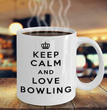 Keep Calm and Love Bowling - Funny - 11oz 15oz Coffee Mug - Gift (15oz, White)