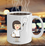 Female Dentist 11oz 15oz Coffee Mug - for BFF, Friend, coworker,Boss, Secret Santa,birthday, Wife,girlfriend (White) Funny Happy Girl Power -