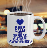 Autism Inspirational Coffee Mug - Keep Calm And Spread Autism Awareness - Best gift for Friend,coworker,Boss,Secret Santa,birthday, Husband,Wife,girlfriend,boyfriend (White)