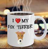 I Love My Fox Terrier - Funny 11oz 15oz coffee mug for pet lover, dog mom, dog parent, pet parent- Great gift idea for BFF, Friend, coworker/Boss, Secret Santa/birthday, Wife/girlfriend