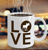 Moose Funny Coffee Mug - Best Gift For Friend,Coworker,Boss,Secret Santa,Birthday,Husband,Wife,Girlfriend,Boyfriend (White) - Love
