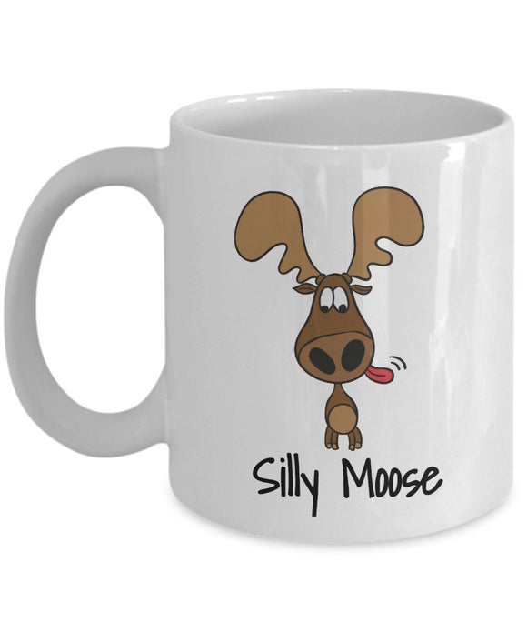 Moose Funny Coffee Mug - Best Gift For Friend,Coworker,Boss,Secret Santa,Birthday,Husband,Wife,Girlfriend,Boyfriend (White) - Silly Moose