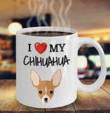 I Love My Chihuahua - Funny 11oz 15oz coffee mug for pet lover, dog mom, dog parent, pet parent- Great gift idea for BFF, Friend, coworker/Boss, Secret Santa/birthday, Wife/girlfriend