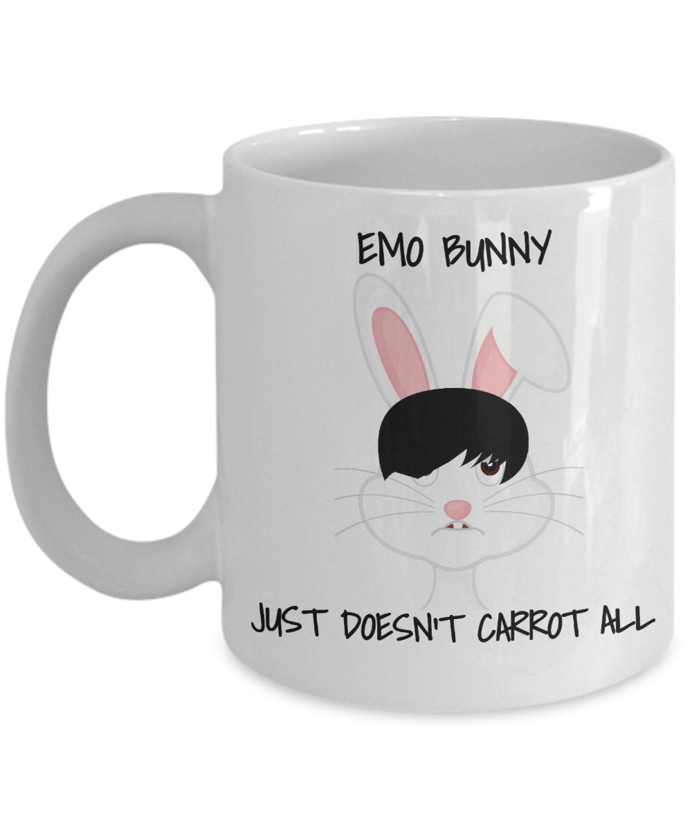 Easter Funny Coffee Mug - Emo Bunny Just Doesn't Carrot All - Best Gift For  Friend,Coworker,Boss,Secret