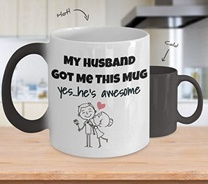 My Husband Got Me This Mug Yes He's Awesome Color Changing Thermometer Heat Cup Sensitive Porcelain Tea Coffee 11oz Magic Mug for BFF, Friend, coworker/Boss, Secret Santa/birthday, Wife/girlfriend