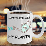Gardening Funny Coffee Mug - Sometimes I Wet My Plants - Best gift for Friend,coworker,Boss,Secret Santa,birthday, Husband,Wife,girlfriend,boyfriend (White)