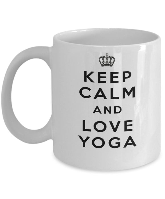 Keep Calm and Love Yoga - Funny - 11oz 15oz Coffee Mug - Gift