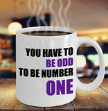 Autism Inspirational Coffee Mug - You Have To Be Odd To Be Number One - Best gift for Friend,coworker,Boss,Secret Santa,birthday,Husband,Wife,girlfriend,boyfriend (White)