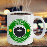 St Patrick's Day Funny Coffee Mug - Cheers - Best gift for Friend,coworker,Boss,Secret Santa,birthday, Husband,Wife,girlfriend,boyfriend White