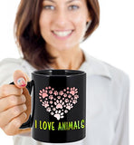 I Love Animals Colorful - Funny 11oz 15oz mug for pet lover, dog mom, dog parent, pet parent- Great gift idea for BFF, Friend, coworker/Boss, Secret Santa/birthday, Wife/girlfriend (Black)