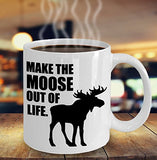 Moose Funny Coffee Mug - Best Gift For Friend,Coworker,Boss,Secret Santa,Birthday,Husband,Wife,Girlfriend,Boyfriend (White) - Make The Moose Out Of Life