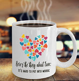Here's the thing about love It's hard to put into words - Valentine's Day - 11oz 15oz Coffee Mug - Great gift idea for BFF, Friend, coworker,Boss, Secret Santa,birthday, Wife,girlfriend (White)