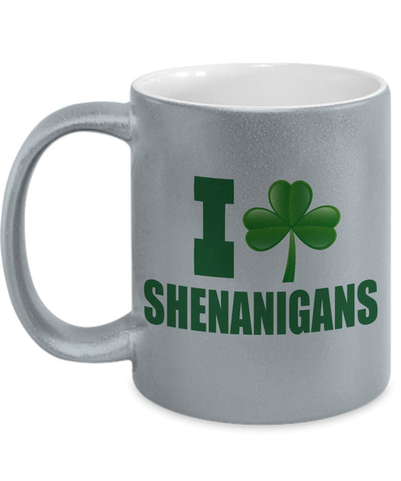 St Patrick's Day Funny Metallic Coffee Mug - I Clover Shenanigans - Best gift for Friend,coworker,Boss,Secret Santa,birthday, Husband,Wife,girlfriend,boyfriend Silver