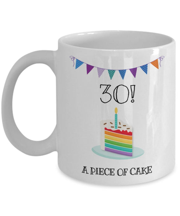 Happy 30th Birthday - Funny 11oz 15oz Coffee Mug - Great Fun gift idea for BFF, Friend, coworker,Boss, Secret Santa,birthday, Husband,Wife,girlfriend (White)