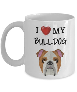 I Love My Bulldog - Funny 11oz 15oz coffee mug for pet lover, dog mom, dog parent, pet parent- Great gift idea for BFF, Friend, coworker/Boss, Secret Santa/birthday, Wife/girlfriend