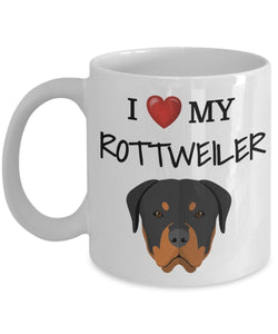 I Love My Rottweiler - Funny 11oz 15oz coffee mug for pet lover, dog mom, dog parent, pet parent- Great gift idea for BFF, Friend, coworker/Boss, Secret Santa/birthday, Wife/girlfriend