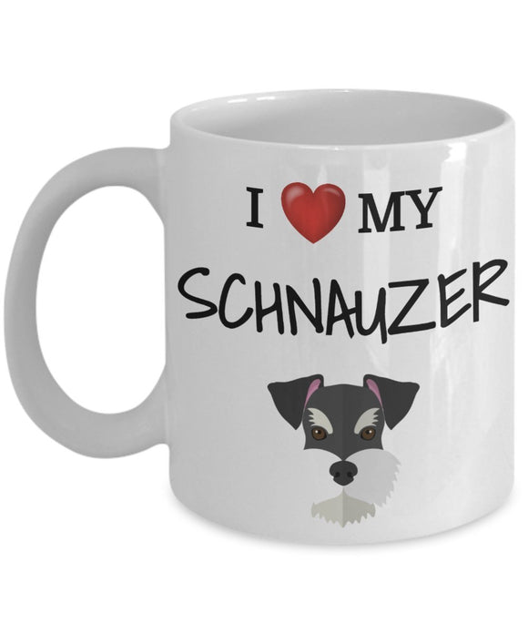 I Love My Schnauzer - Funny 11oz 15oz coffee mug for pet lover, dog mom, dog parent, pet parent- Great gift idea for BFF, Friend, coworker/Boss, Secret Santa/birthday, Wife/girlfriend