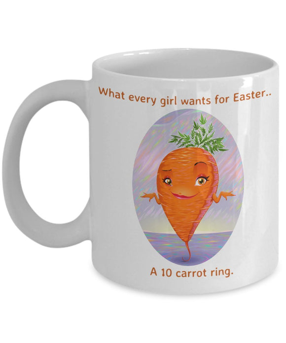 Easter Funny Coffee Mug - What Every Girl Wants For Easter A 10 Carrot Ring - Best Gift For Friend,Coworker,Boss,Secret Santa,Birthday,Husband,Wife,Girlfriend,Boyfriend (White)
