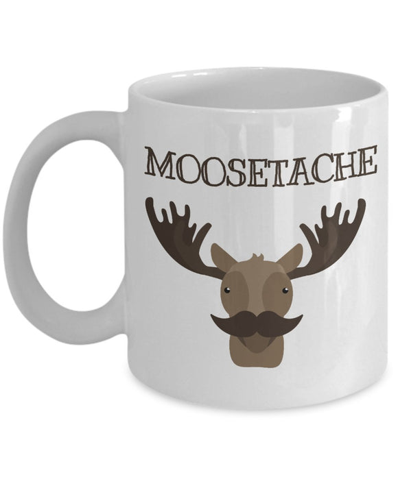 Moose Funny Coffee Mug - Best Gift For Friend,Coworker,Boss,Secret Santa,Birthday,Husband,Wife,Girlfriend,Boyfriend (White) - Moosetache