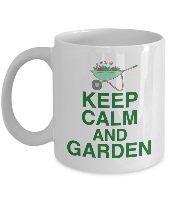 Gardening Funny Coffee Mug - Keep Calm And Garden - Best gift for Friend,coworker,Boss,Secret Santa,birthday, Husband,Wife,girlfriend,boyfriend (White)