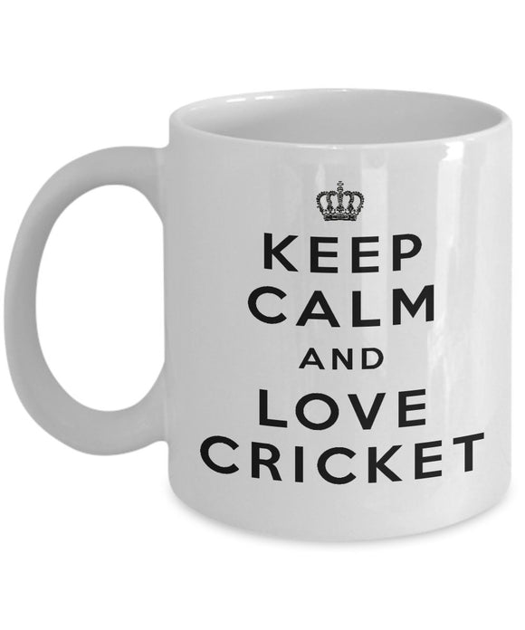 Keep Calm and Love Cricket - Funny - 11oz 15oz Coffee Mug - Gift