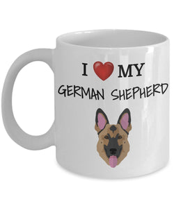 I Love My German Shepherd - Funny 11oz 15oz coffee mug for pet lover, dog mom, dog parent, pet parent- Great gift idea for BFF, Friend, coworker/Boss, Secret Santa/birthday, Wife/girlfriend
