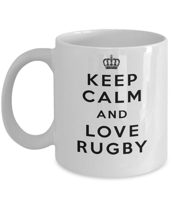 Keep Calm and Love Rugby - Funny - 11oz 15oz Coffee Mug - Gift