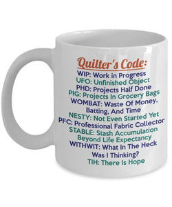 Sewing Funny Coffee Mug - Best Quilting Gift For Friend,Coworker,Boss,Secret Santa,Birthday,Husband,Wife,Girlfriend,Boyfriend (White) - Sew Quilt Crochet Acronyms Needle Craft Humor