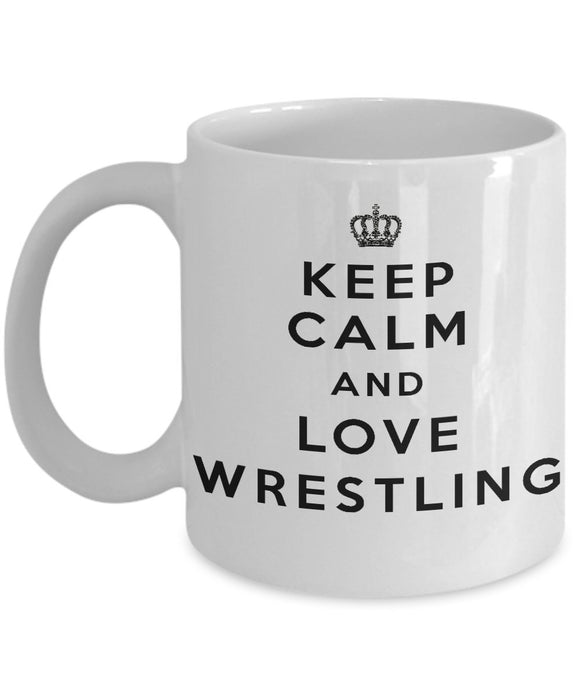 Keep Calm and Love Wrestling - Funny - 11oz 15oz Coffee Mug - Gift