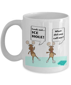 Moose Funny Coffee Mug - Best Gift For Friend,Coworker,Boss,Secret Santa,Birthday,Husband,Wife,Girlfriend,Boyfriend (White) - Look Out Ice Hole What Did You Call Me