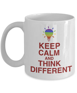 Autism Inspirational Coffee Mug - Keep Calm And Think Different - Best gift for Friend,coworker,Boss,Secret Santa,birthday, Husband,Wife,girlfriend,boyfriend (White)