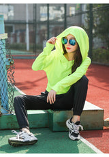 Breathable Cut Out Sports Hoodie - Neon Green