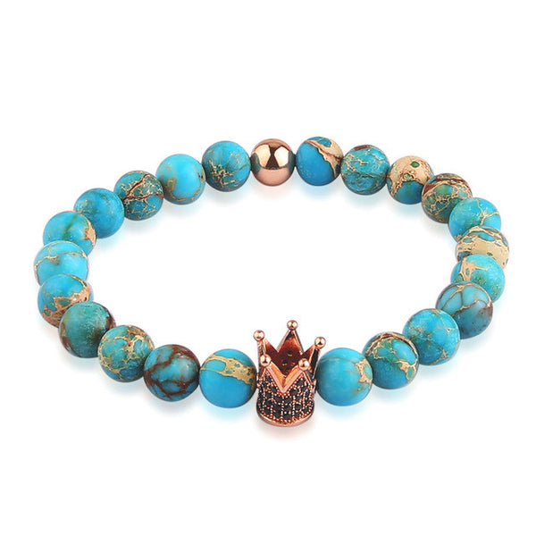 Turquoise Queen Bead Bracelet - Rose Gold