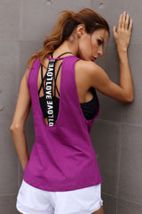 One Love Cut Out Tank Top - Purple