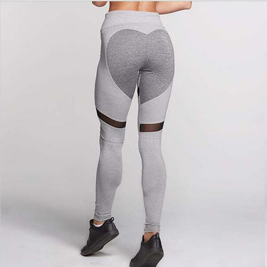 Gray And Black Leggings With Heart On Butt