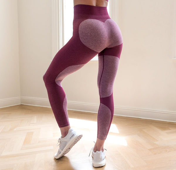 Red and Pink Leggings With Heart On Butt