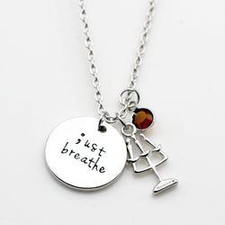 JUST BREATHE Semicolon Necklace with Birthstone
