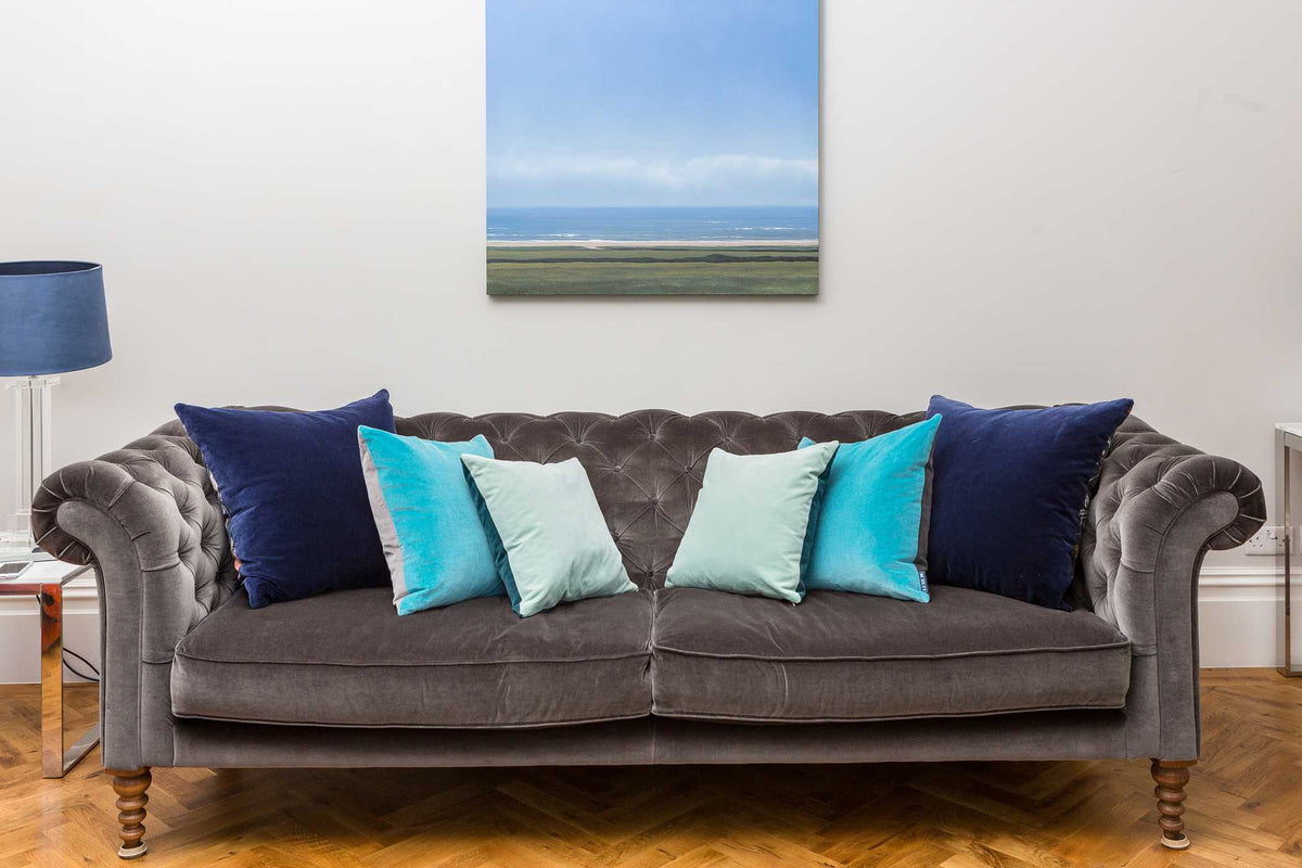 blue velvet cushions uk