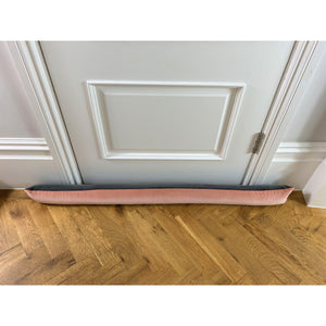 Draft excluder with blush pink velvet front and slate grey velvet reverse